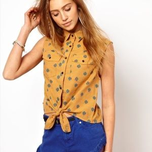INSIGHT Tie front Polka Dot Button Up Top